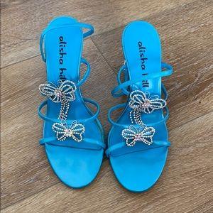 Turquoise Alisha Heel Shoe with Butterflies